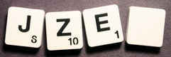 SCRABBLE tile style M01B : White tile with black letter