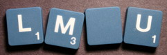 SCRABBLE tile style M46W : Agave blue tile with white letter