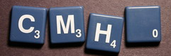 SCRABBLE tile style S47W : Slate Blue tile with white letter