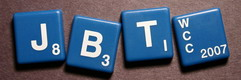 SCRABBLE tile style S49W-RV : Reno Blue with white letters